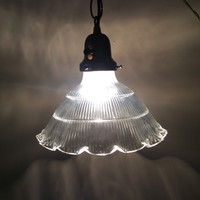 Antique Ruffled Marked Holophane Pendant Light Industrial Art Deco 1920s
