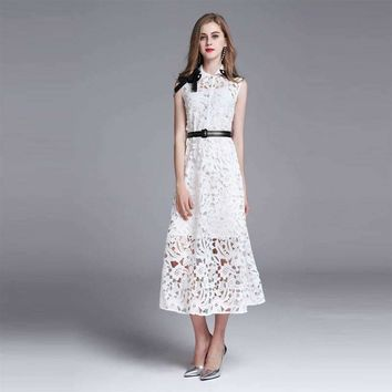 Hollow Out Women Lace Dress Slim Sleeveless Peter Pan Collar Mid-Calf Length Female Dress