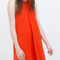 Orange Spaghetti Strap Cut Away Shift Dress