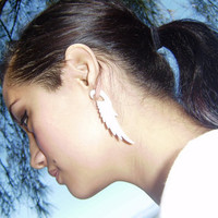 Fake gauge  Natural White Bone wing Stick Gauge Earrings Anela hawaii  hand craved