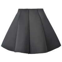 Black Structured Pleats Mini Skirt