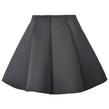 Black Structured Pleat Mini Skater Skirt