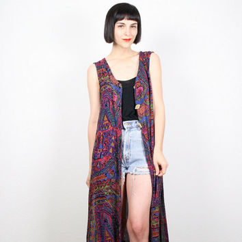 Vintage 90s Vest 1990s Grunge Tribal Print Ethnic Print Kimono Jacket Duster Shirt Top Boho Festival Sleeveless Jacket Dress M L XL Large