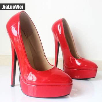 Jialuowei Spring Autumn 18cm thin high heels sexy Shiny Leather 30815194d1bd