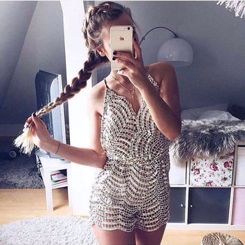 Femme women strap jumpsuits spaghetti hollow out sparkly gold solid short playsuits and jumpsuits drop shipping
