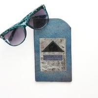 Blue metallic / Natural hologram leather glasses wallet -large - Ready to Ship