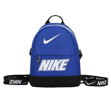 NIKE Fashion New Letter Hook Print Women Men Leisure Canvas Backpack Bag Blue
