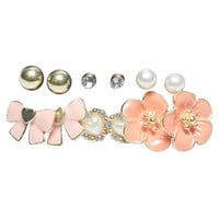 Large Flower & Bow Button Earring 6-Pack | Wet Seal