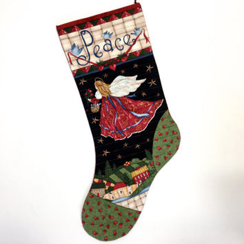 Angel Christmas Stockings - Quilted Peace Houses - Holiday Decor - Childrens Sock - Christmas Red - Sally Manke Fiber Art - Ready to Ship