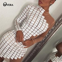 Ohvera One Shoulder Plaid Sequin Party Dresses Women Hollow Out Sexy Dress Turtlenck Mini Summer Dress Vestidos