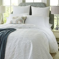 Hayden Pleated Duvet Cover & Sham - White