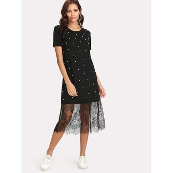 Black Round Neck Short Sleeve Hem Shift Dress