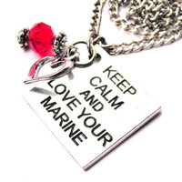 Keep calm and love your marine  Necklace