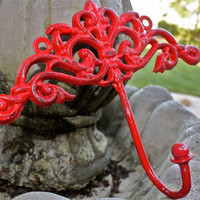 Red Wall Metal Hook by AquaXpressions.. Bright Shabby Chic Decor by Aqua Xpressions