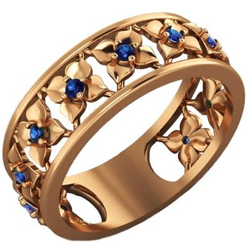 Plumeria Ring Rose Gold Blue Flower Eternity Wedding band Ring Leaf ring Blue Floral Jewelry 11th Blue Sapphires Width 6.9 mm
