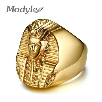 Modyle Gold Color Mysterious Egyptian Pharaoh Rings Rock Titanium Stainless Steel Mens Signet Bling Ring for Men Jewelry
