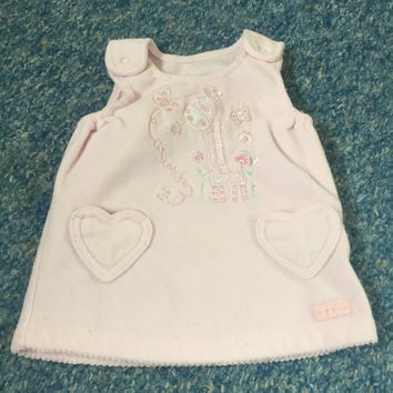 Baby girls pink warm fleece dungaree dress with embroidered giraffe newborn
