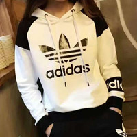"Fashion ""Adidas"" Hooded Pullover Tops Pants Trousers Set Two-piece Sportswear"