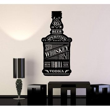 Vinyl Wall Decal Alcohol Bottle Bar Night Club Whisky Beer Stickers Unique Gift (ig4242)