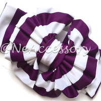 Messy Bow Head Wrap, Purple and White Stripe Messy Bow Head Wrap, Floppy Headband