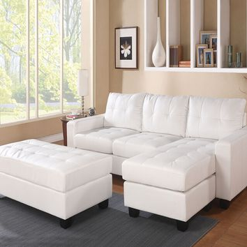 Acme 51210 2 pc lyssa white bonded leather match sectional sofa with reversible chaise