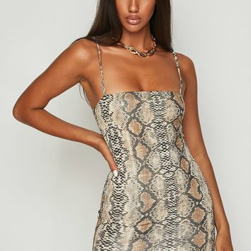 Slither Snake Print Bodycon Mini Dress Brown