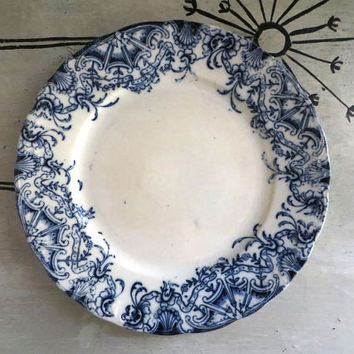 Antique Flow Blue Plate Cottage Chic Decor Blue and White Porcelain Flow Blue Dinner Plate French Provencial Decor French Blue
