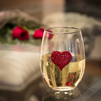 Red Heart Stemless Jeweled Wine Glass
