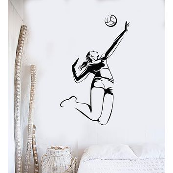 Vinyl Wall Decal Volleyball Player Sports Girl Beach Art Decor Stickers Mural Unique Gift (ig5142)