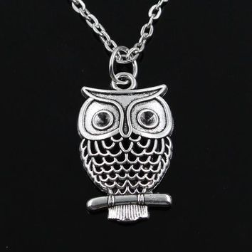 Round Cross Hollow Owl Pendant Necklace