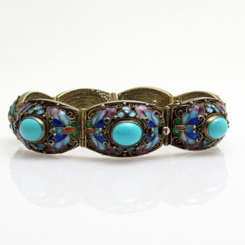 Chinese Filigree Turquoise Bracelet Enamel Butterfly Gilt Antique Deco Jewelry B7545