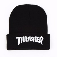 Brand New Thrasher Beanies Cap 3D Letter Skullies Hats Street Head Wear Hiphop Winter Warm Wool Knitted Skateboard Cap Men Women