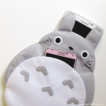 Totoro My Neighbour iPad Mini Case. Grey Clutch Bag Cosmetic Pouch iPhone Felt Case. Samsung Gadget Tab Note Sleeve. Gift for her him.