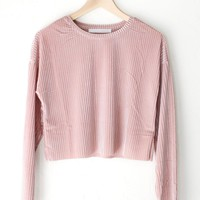 Long Sleeve Velvet Crop Top