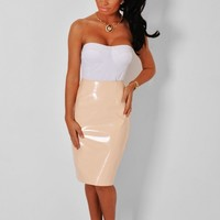 Custard Nude PVC Midi Skirt | Pink Boutique