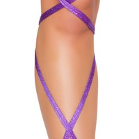 """Purple 100"""" SHIMMER LEG STRAP WITH ATTACHED GARTER"""