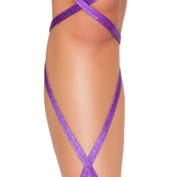 "Purple 100"" SHIMMER LEG STRAP WITH ATTACHED GARTER"