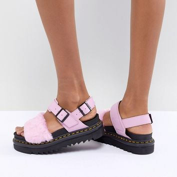 Dr Martens Voss Fluffy Flat Sandals at asos.com