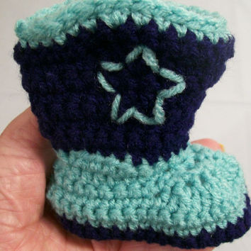 Baby Cowboy Boots-Light Turquoise and Navy-Crochet--Baby Shower Gift--#136-