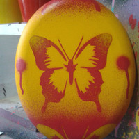 Butterfly oval canvas paintings,stencils & spray paints, pop art, insects,yellow,red,pink,blue,shape,butterflies,canvas art,home,living,bugs
