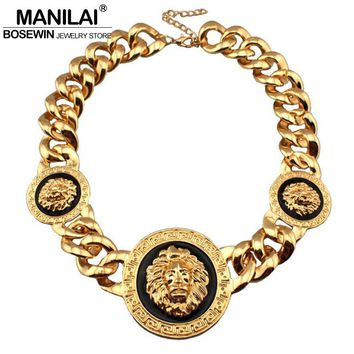 3 Metal Lion Head Chunky Acrylic Chain Necklace Statement Jewelry Bib Collar Chokers Necklaces Gold Color Bijoux