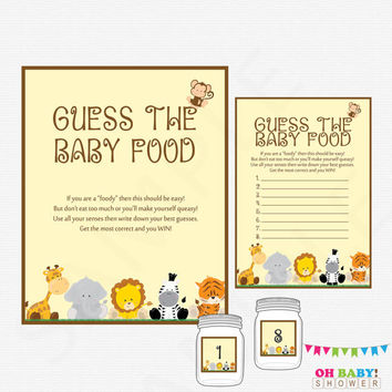Guess the Baby Food, Safari Baby Shower Games, Printable Baby Shower, Instant Download, Jungle Baby Shower, Baby Food Guessing Game BS0001-N