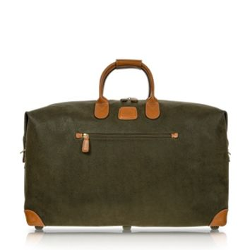 Bric's Designer Travel Bags Life Olive Green Micro-Suede 22 Duffle Bag