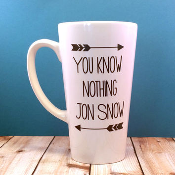You Know Nothing Jon Snow // Coffee Cup // Jon Snow // Coffee Mug // GOT // Ygritte // Arrows // Custom // Fandom // Starks // Quote // Nerd