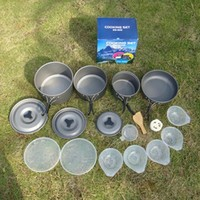 Portable Size Convenient Outdoor Camping Cookware Tableware Utensils Aluminum Camping Hiking Picnic Tableware Pot Hot
