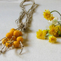Yellow Felt Ball Necklace Multi Strand Eco Friendly Lariat Boho Felt Necklace Wool Gift for her