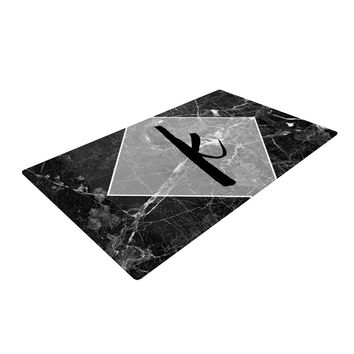 "KESS Original ""Black Marble Monogram"" Woven Area Rug"