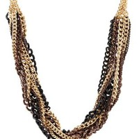 Mixed Metal Twisted Chain Necklace by Charlotte Russe - Multi