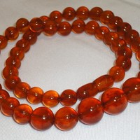 Nice Natural 32gr! Antique Genuine Baltic Egg Yolk Amber Round Beads Necklace (63)