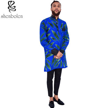 Male African printed batik fabric clothes set men's ankara fabric jacket+casual pants  men fashion clothes suit